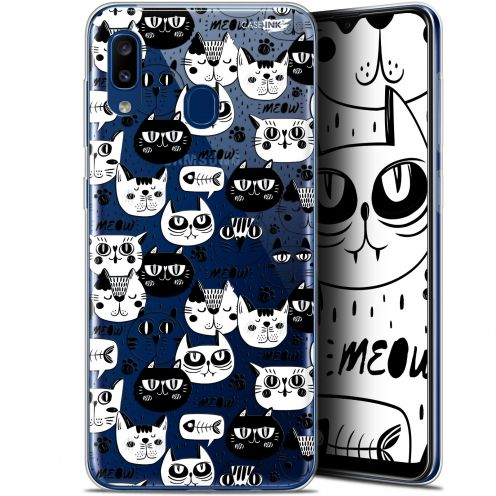"Extra Slim Gel Samsung Galaxy A20 (6.4"") Case Design Chat Noir Chat Blanc"