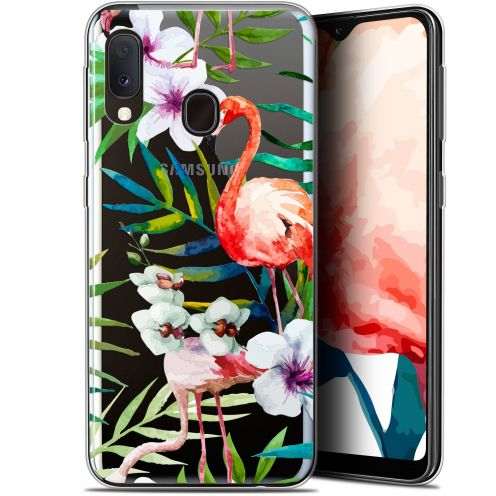 "Extra Slim Gel Samsung Galaxy A20E (5.8"") Case Watercolor Tropical Flamingo"