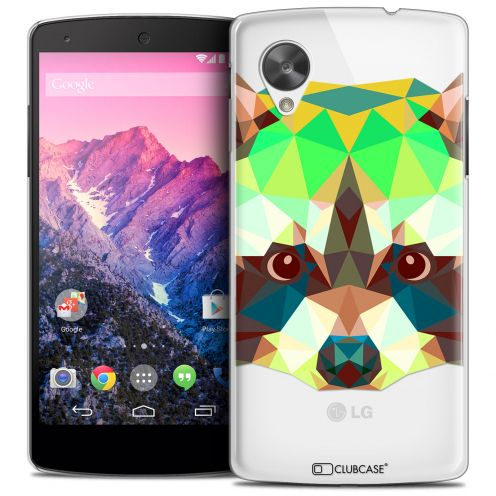 Extra Slim Crystal Nexus 5 Case Polygon Animals Racoon
