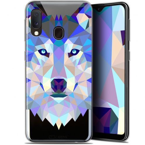 "Extra Slim Gel Samsung Galaxy A20E (5.8"") Case Polygon Animals Wolf"