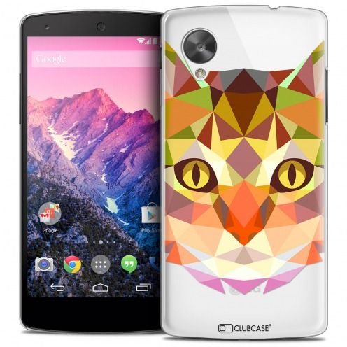 Extra Slim Crystal Nexus 5 Case Polygon Animals Cat