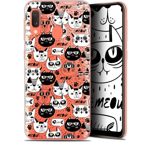 "Extra Slim Gel Samsung Galaxy A20E (5.8"") Case Design Chat Noir Chat Blanc"