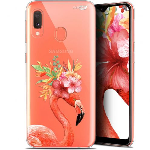 "Extra Slim Gel Samsung Galaxy A20E (5.8"") Case Design Flamant Rose Fleuri"