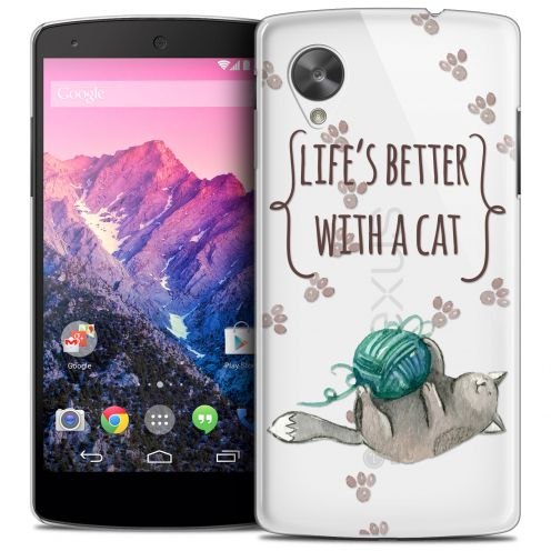 Extra Slim Crystal Nexus 5 Case Quote Life's Better With a Cat