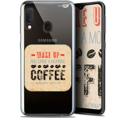 "Extra Slim Gel Samsung Galaxy A20E (5.8"") Case Design Wake Up With Coffee"