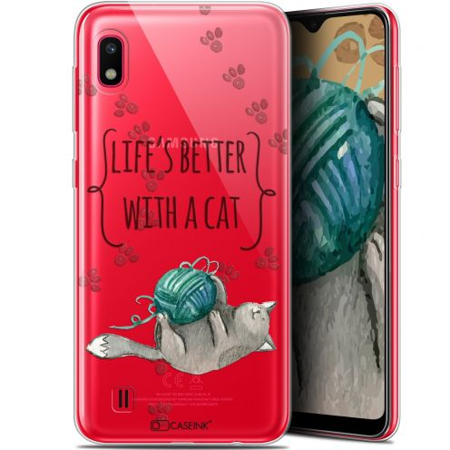 "Extra Slim Gel Samsung Galaxy A10 (6.2"") Case Quote Life's Better With a Cat"