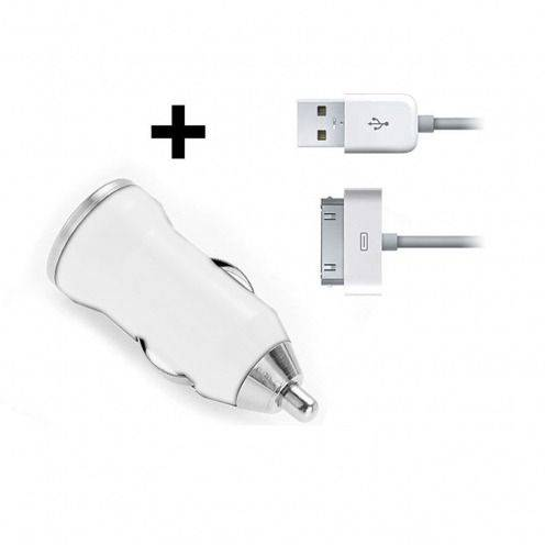 Mini car charger + data usb cable iPhone 3 G/S/4/4S white
