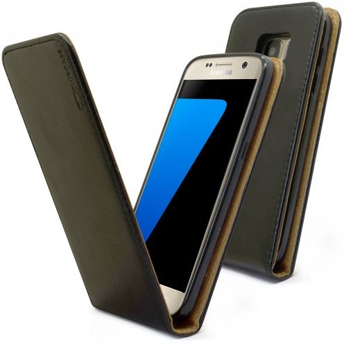 Clamshell Flip Flexi Case for Samsung Galaxy S7 Genuine Italian Leather Black