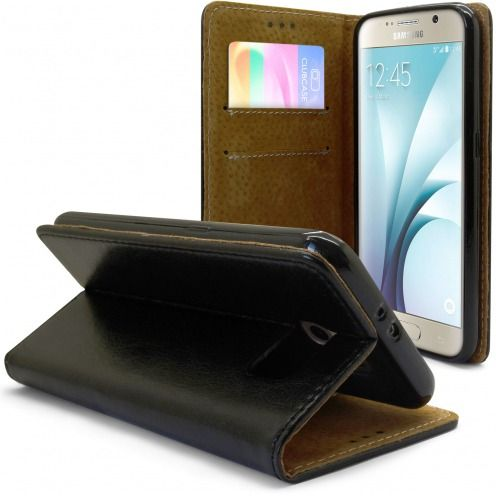 Folio Wallet Flexi Case for Samsung Galaxy S6 Genuine Italian Leather Black