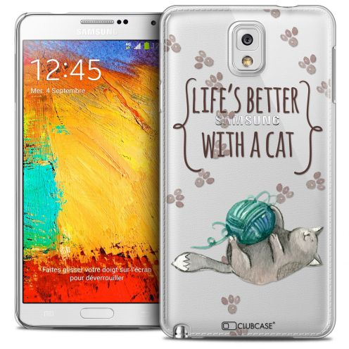 Extra Slim Crystal Galaxy Note 3 Case Quote Life's Better With a Cat