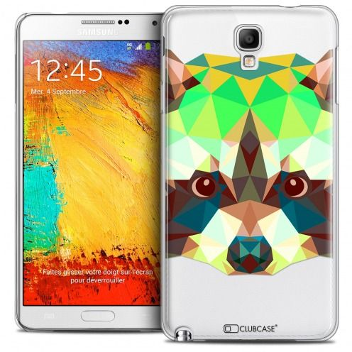 Extra Slim Crystal Galaxy Note 3 Neo/Mini Case Polygon Animals Racoon