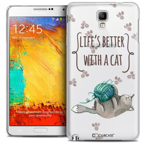 Extra Slim Crystal Galaxy Note 3 Neo/Mini Case Quote Life's Better With a Cat