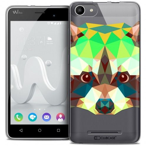 Extra Slim Crystal Gel Wiko Jerry Case Polygon Animals Racoon