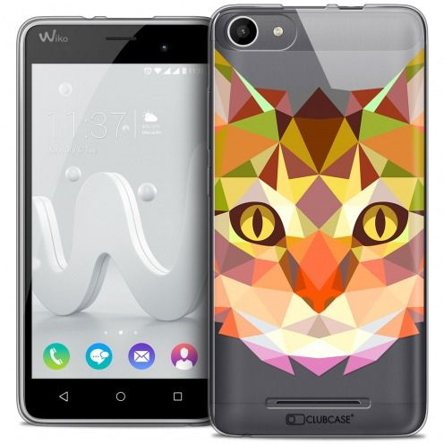 Extra Slim Crystal Gel Wiko Jerry Case Polygon Animals Cat