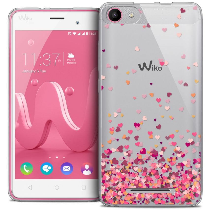 Extra Slim Crystal Gel Wiko Jerry Case Sweetie Heart Flakes