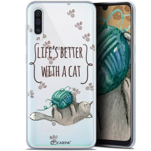"Extra Slim Gel Samsung Galaxy A50 (6.4"") Case Quote Life's Better With a Cat"