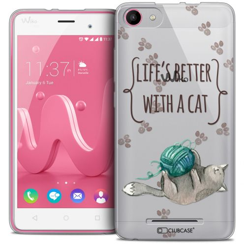 Extra Slim Crystal Gel Wiko Jerry Case Quote Life's Better With a Cat
