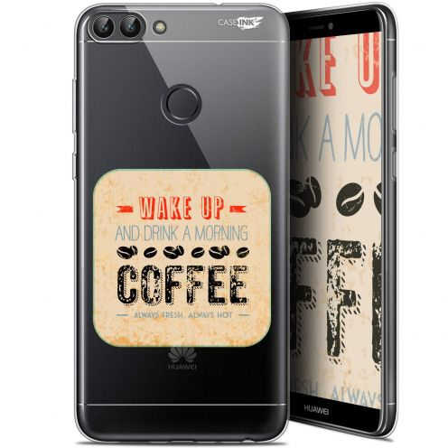 """Extra Slim Gel Huawei P Smart (5.7"""") Case Design Wake Up With Coffee"""