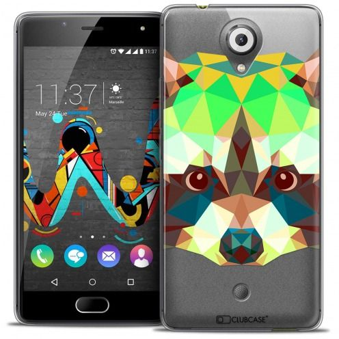 Extra Slim Crystal Gel Wiko U Feel Case Polygon Animals Racoon