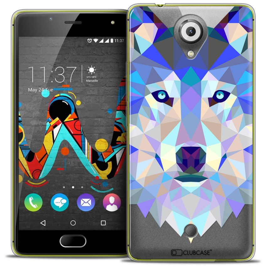 Extra Slim Crystal Gel Wiko U Feel Case Polygon Animals Wolf