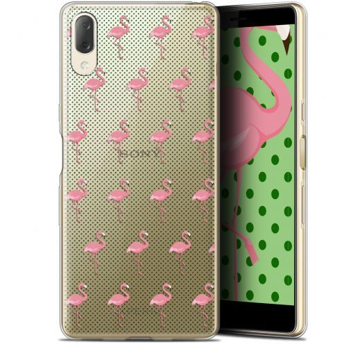"Extra Slim Gel Sony Xperia L3 (5.7"") Case Pattern Les flamants Roses Dots"