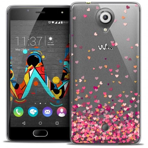 Extra Slim Crystal Gel Wiko U Feel Case Sweetie Heart Flakes