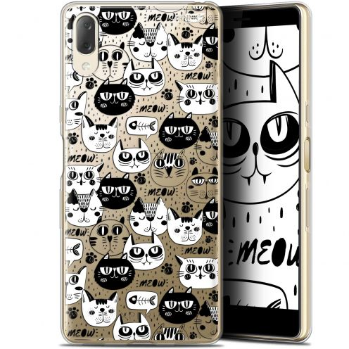 "Extra Slim Gel Sony Xperia L3 (5.7"") Case Design Chat Noir Chat Blanc"