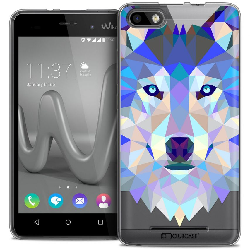 Extra Slim Crystal Gel Wiko Lenny 3 Case Polygon Animals Wolf