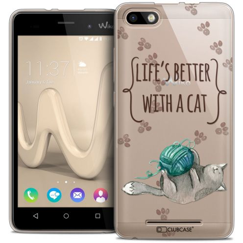 Extra Slim Crystal Gel Wiko Lenny 3 Case Quote Life's Better With a Cat