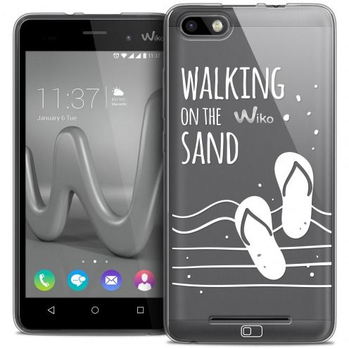 Extra Slim Crystal Gel Wiko Lenny 3 Case Summer Walking on the Sand