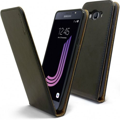 Clamshell Flip Flexi Case for Samsung Galaxy J7 2016 (J710) Genuine Italian Leather Black