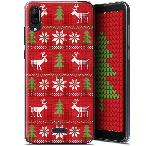 """Extra Slim Gel Wiko Y80 (6"""") Case Noël 2017 Couture Rouge"""