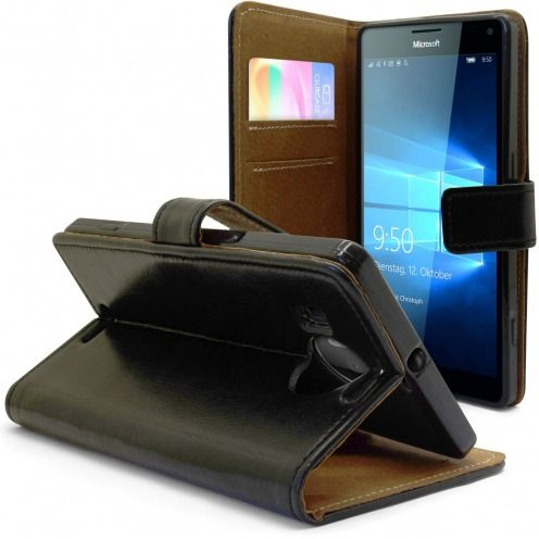Folio Wallet Flexi Case for Microsoft Lumia 950XL Genuine Italian Leather Black