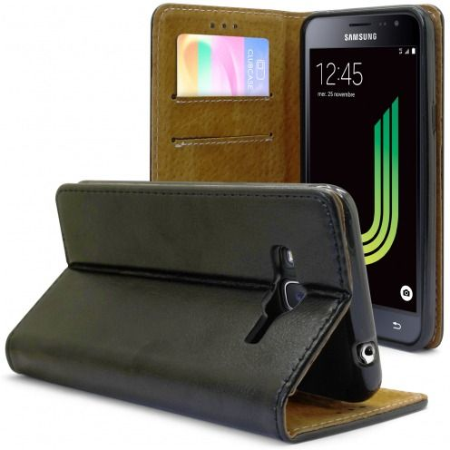 Folio Wallet Flexi Case for Samsung Galaxy J3 2016 (J320) Genuine Italian Leather Black