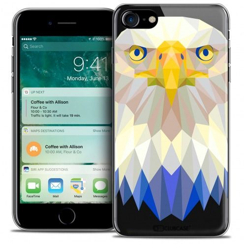"Extra Slim Crystal Gel Apple iPhone 7 (4.7"") Case Polygon Animals Eagle"