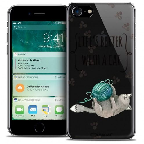"Extra Slim Crystal Gel Apple iPhone 7 (4.7"") Case Quote Life's Better With a Cat"