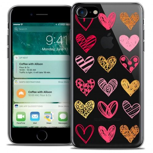 "Extra Slim Crystal Gel Apple iPhone 7 (4.7"") Case Sweetie Doodling Hearts"