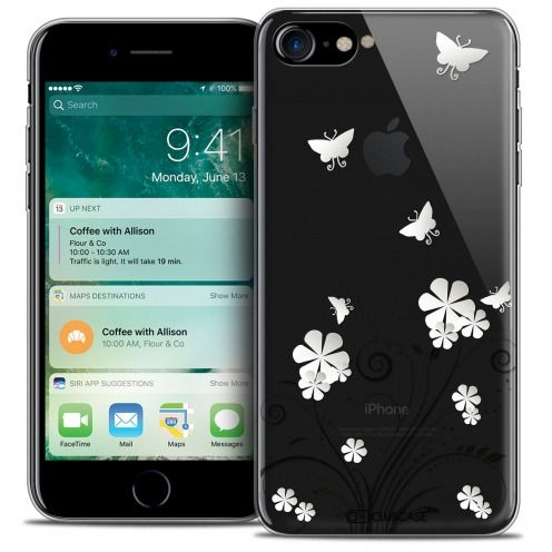 "Extra Slim Crystal Gel Apple iPhone 7 (4.7"") Case Summer Papillons"