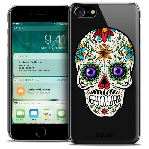 "Extra Slim Crystal Gel Apple iPhone 7 (4.7"") Case Skull Maria's Flower"