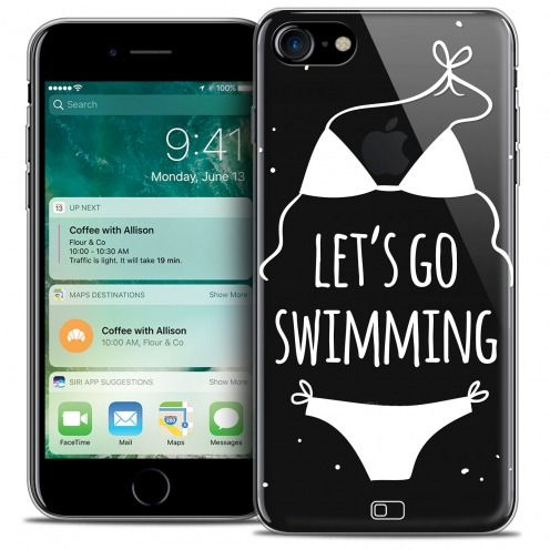 "Extra Slim Crystal Gel Apple iPhone 7 (4.7"") Case Summer Let's Go Swim"