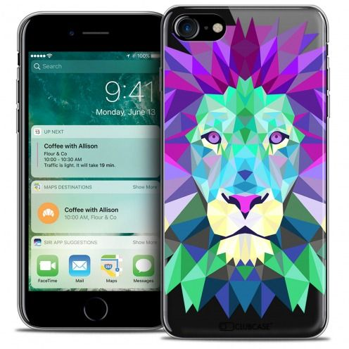 "Extra Slim Crystal Gel Apple iPhone 7 (4.7"") Case Polygon Animals Lion"