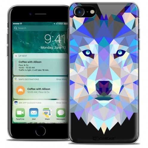"Extra Slim Crystal Gel Apple iPhone 7 (4.7"") Case Polygon Animals Wolf"