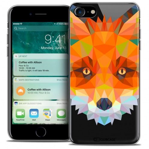 "Extra Slim Crystal Gel Apple iPhone 7 (4.7"") Case Polygon Animals Fox"