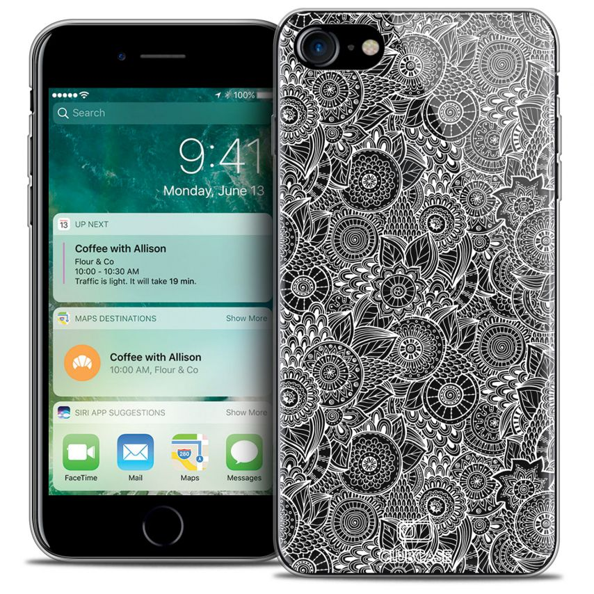 "Extra Slim Crystal Gel Apple iPhone 7 (4.7"") Case Floral Lace Collection - White"