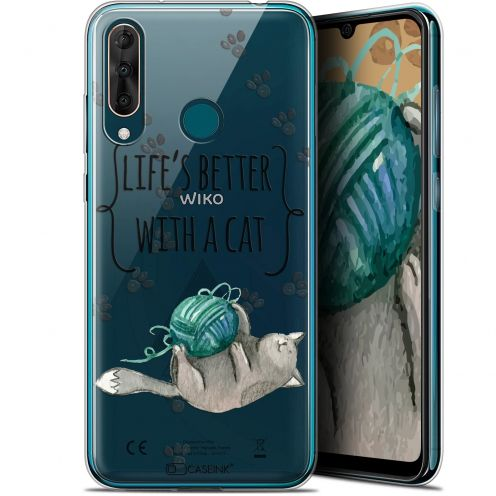 "Extra Slim Gel Wiko View 3 PRO (6.3"") Case Quote Life's Better With a Cat"