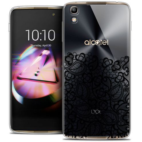 Extra Slim Crystal Gel Alcatel Idol 4 Case Spring Bas dentelle Noir