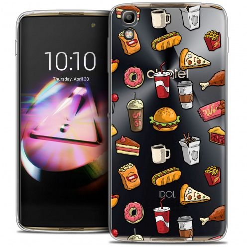 Extra Slim Crystal Gel Alcatel Idol 4 Case Foodie Fast Food