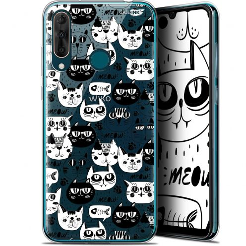 "Extra Slim Gel Wiko View 3 PRO (6.3"") Case Design Chat Noir Chat Blanc"