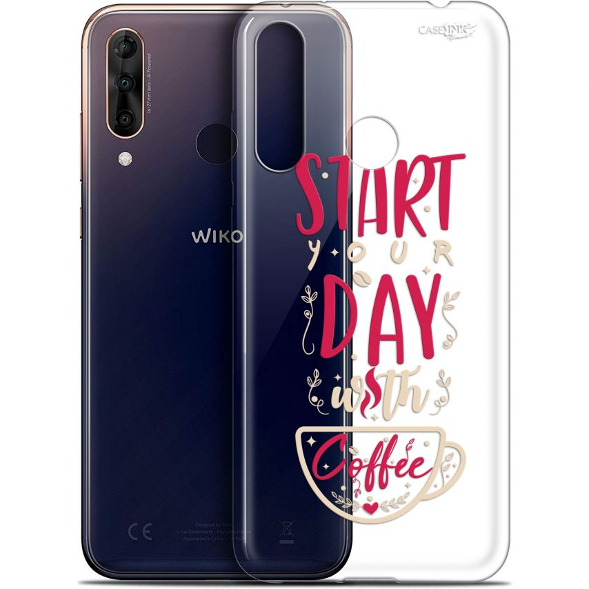"""Extra Slim Gel Wiko View 3 PRO (6.3"""") Case Design Start With Coffee"""