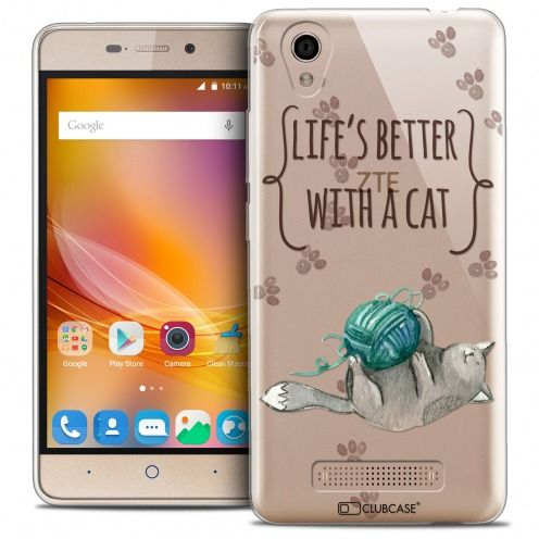 Extra Slim Crystal Gel ZTE A452 Case Quote Life's Better With a Cat